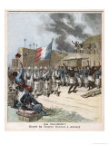 The French Tricouleur is Borne Proudly into the Smoking City of Abomey Dahomey Giclee Print by Henri Meyer
