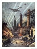 German Bombers Destroy the Armaments Factories at Sheffield Giclee Print by Achille Beltrame