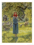 "Jeanne D'Arc Hearing Her ""Voices"" While Minding Her Sheep at Domremy Reproduction procédé giclée par Eleanor Fortescue Brickdale"