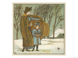 Mother and Her Child Walking Through the Wintry Snow Pause to Look at a Robin Giclee Print by Walter Crane
