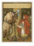 Little Red Riding Hood Meets the Wolf in the Woods Giclee Print by Walter Crane