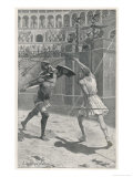 Gladiators in Combat in an Arena Giclee Print by J. Ambrose