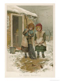Two Girls Give the Robins Their Breakfast Giclee Print by Harriet M. Bennett