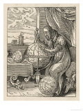 German Astronomer and Cosmographer at Work on a Globe with His Compasses Reproduction procédé giclée par Jos Amman