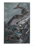 20,000 Leagues Under the Sea: Divers Attacked by a Shark Lámina giclée por Henry Austin
