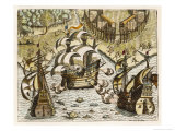 Spanish Galleons Attempt to Ward off Rivals for the New World Giclee Print by Theodor de Bry