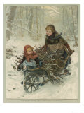 Two Children Bring Home a Barrow-Load of Firewood for the Christmas Fire Impression giclée par E. Blume