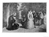 Elizabeth Meets Mary Queen of Scots in the Park of Fotheringhay Giclee Print by E. Fontana