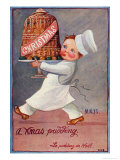 Young Chef Carries in a Decorated Pudding Giclee Print by M. Alys