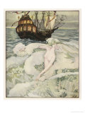 The Little Mermaid Watches a Ship Premium Giclee Print by Anne Anderson