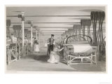 Interior of Cotton Mill: Power Loom Weaving Giclee Print by Thomas Allom