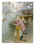 The Schoolgirl at Her Desk Day-Dreams of the Pleasures of the Christmas Holidays Giclee Print by Honor C. Appleton