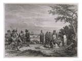 "The ""Pilgrims"" are Visited by Massasoit Chief of the Pokanokets Giclee Print by S. Eastman"