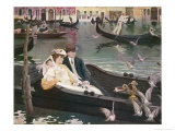 Couple in a Gondola on the Canals of Venice Giclee Print by L. De Joncieres