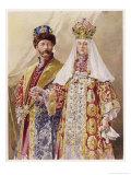 Nikolay Aleksandrovich Czar Nicolas II with Alexandra in Ancient Muscovite Dress Giclee Print by Frederic De Haenen
