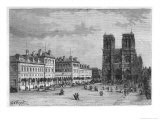 Hotel-Dieu Paris Ground-Level View of the Parvis De Notre-Dame with the Hospital on the Left Premium Giclee Print by Hubert Clerget