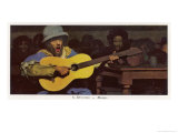 Musician in Rural European Pub Sings for His Beer Giclee Print by A. Devambez