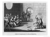 """The Punishment of Scourging,"" a Prisoner is Tied in a Cell and Flogged Giclee Print by Dom Augustin Calmet"