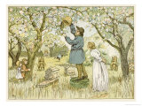 Beekeper Drives the Bees from Their Old Hive Giclee Print by Francis Bedford