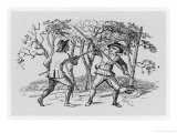 Robin Hood and the Tanner Fight with Quarterstaffs Giclee Print by Thomas Bewick