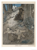 Three German Children Encounter a Demon in the Woods and Run Away in Terror Giclee Print by Max Bernuth