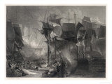 The Battle of Trafalgar, The Victory at the Moment That Nelson was Wounded Premium Giclee Print by J.b. Allen