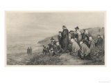 The Pilgrim Fathers Watch the Mayflower Sail Home to England Premium Giclee Print by A.w. Bayers