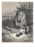 The Lion and the Mouse Premium Giclee Print by Gustave Doré