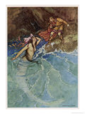 The Mermaid Falls in Love with the King Giclee Print by Warwick Goble