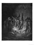 Dante and Virgil Watch as the Procession of the Damned Walk Barefoot Through the Flames of Hell Reproduction procédé giclée par Gustave Doré