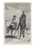 Don Quixote and Sancho Panza Discuss the Combat with the Windmills Premium Giclee Print by D.a. Munoz Degrain