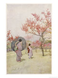 Two Japanese Women Admiring Peach Trees in Blossom Giclee Print by Ella Du Cane