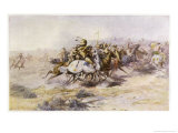 Custer and Cavalry in Action Giclée-tryk af Charles Marion Russell