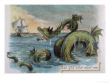 Sea Monster Looks at a Sailing Ship Premium Giclee Print by R. Andre