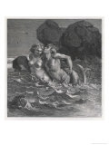 Mermaid Wraps Her Tail Round Her Human Lover and Drags Him to His Doom Giclee Print by Emile Bayard