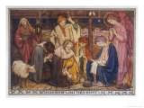Encouraged by the Angels the Shepherds Come to Jesus' Cradle to Worship the Child Giclee Print by M. Dibden