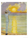 Man Contemplates the Sunrise Giclee Print by Margaret C. Cook