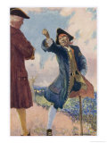 Long John Silver Shakes His Fist and Threatens Captain Smollett Giclee Print by John Cameron