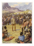 Cecil Rhodes, Statesman and Imperialist in South Africa Making Peace with the Matabele 1896 Giclee Print by Howard Davie