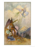 Fairies in a Mountain Landscape Giclee Print by Warwick Goble