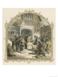 At the Door of the Manor House Food is Distributed to the Poor and Needy of the Village Giclee Print by Birket Foster