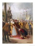 "Queen Elizabeth I Knights Francis Drake on His Ship ""Golden Hind"" after His Round the World Voyage Premium Giclee Print by W.s. Bagdatopulos"