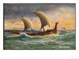 Two-Masted Saxon Warship Under Sail Giclee Print by R. Gallan