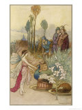 Fairy and a Peacock Giclee Print by Warwick Goble