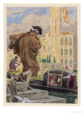 Casanova Joins His Friends in a Gondola at Venice Giclee Print by Auguste Leroux