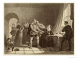 Mary Queen of Scots is Compelled to Sign Her Abdication in Loch Leven Castle Giclee Print by Thomas Brown
