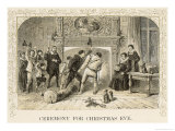Dragging the Yule Log into the Fireplace of a Stately Home in Jacobean England, Giclee Print