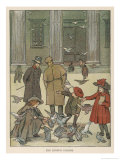Boys and Girls Feeding the Pigeons Outside the British Museum in London Giclee Print by Francis Bedford