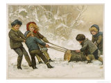 Five Children Fetch Home a Very Big Yule Log Giclee Print by Harriet M. Bennett