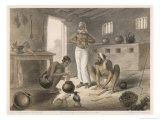 Natives Preparing a Meal: Gutting Chickens and Rolling Dough Giclee Print by Captain G.f. Atkinson